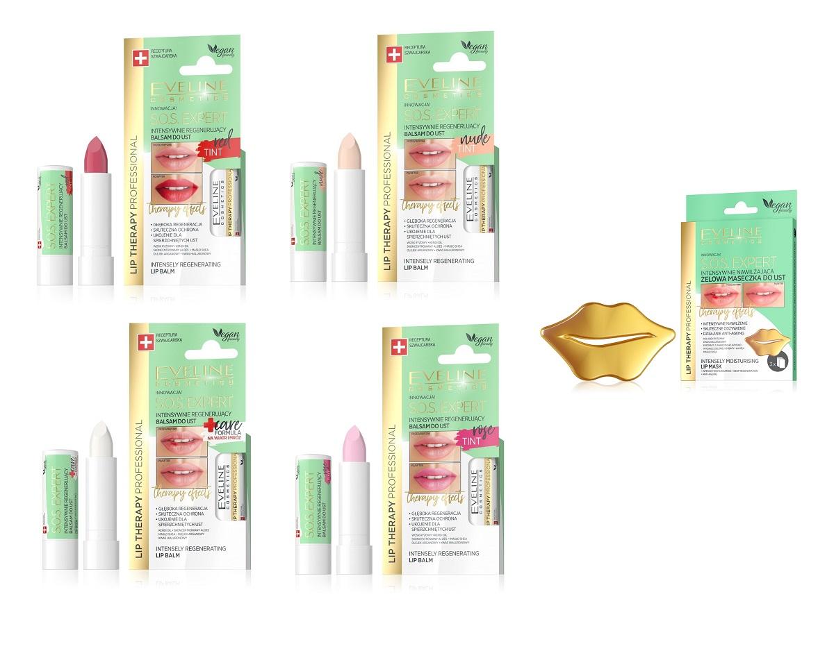 Zestaw dla kobiet Lip Theraphy Professional S.O.S. Expert Maszeczka do ust + Balsam do ust Tint Rose + Balsam do ust Tint Red+ Balsam do ust Tint Nude + Balsam do ust Care Formula