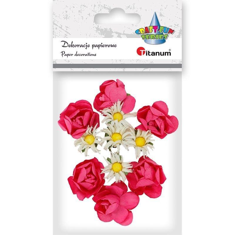 Papierowe róże i rumianki na druciku 25mm 11szt