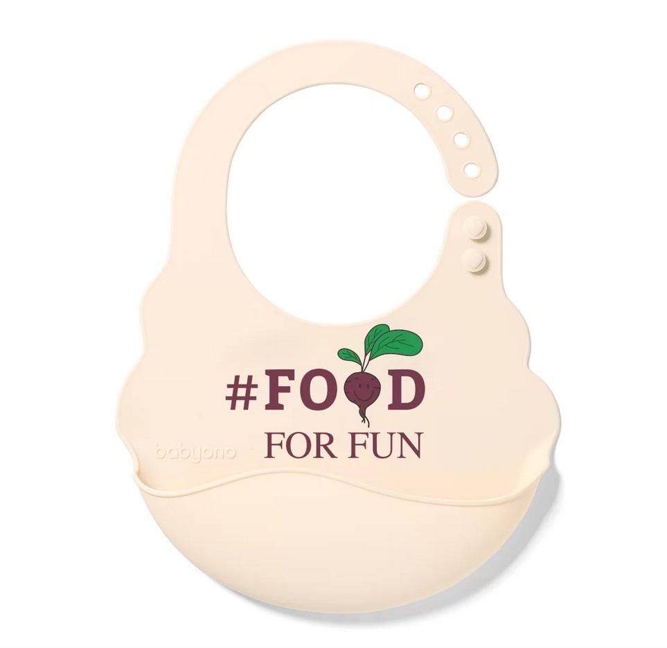 Śliniak silikonowy z regulowanym zapięciem Food for fun