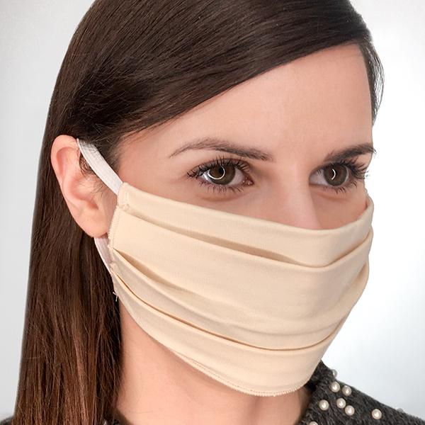 Maska wielorazowa bawełniana jednowarstwowa beżowa M