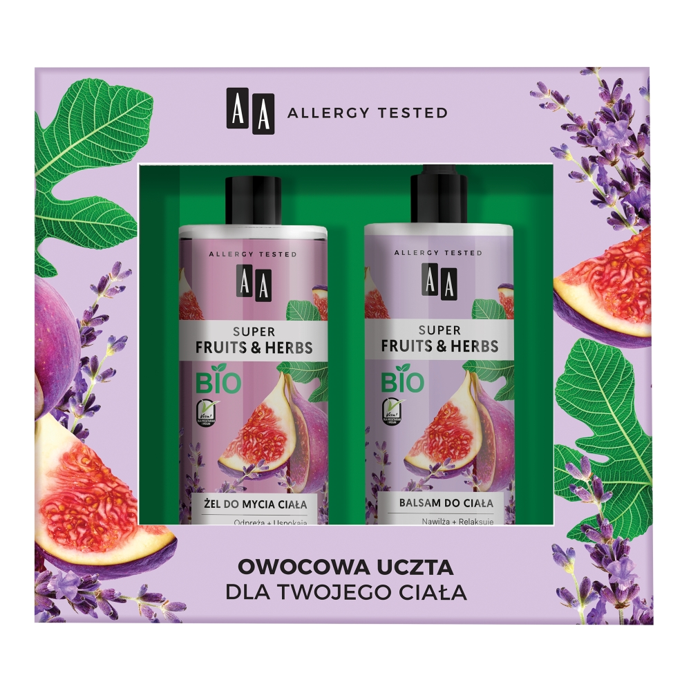 Super Fruits & Herbs żel do mycia ciała Figa & Lawenda 500ml + balsam do ciała Figa & Lawenda 500ml
