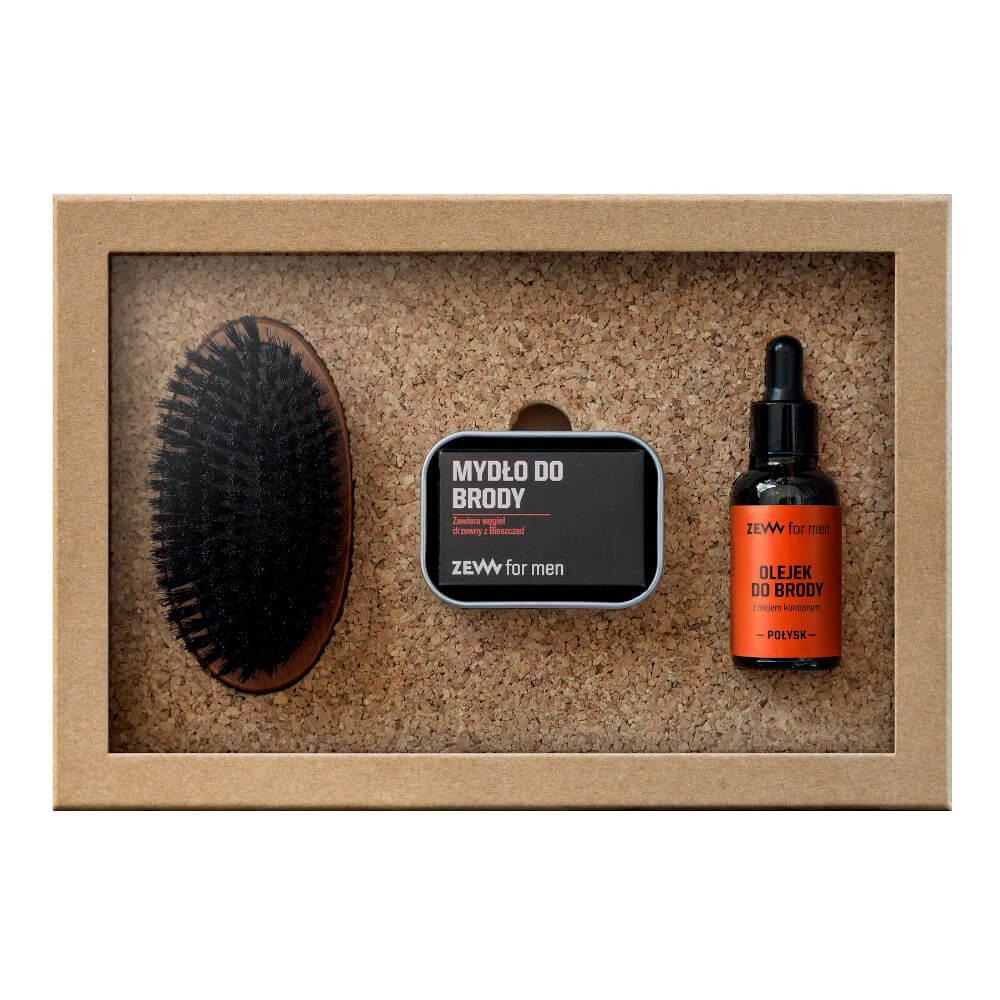 ZEW FOR MEN_SET Zestaw Prosty Drwal mydło do brody  + olejek do brody z olejem konopnym Połysk  + szczotka Brodacza