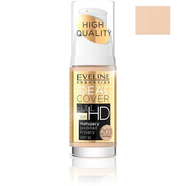 Matujący podkład kryjący 203 Natural Ideal Cover Full HD Foundation SPF10
