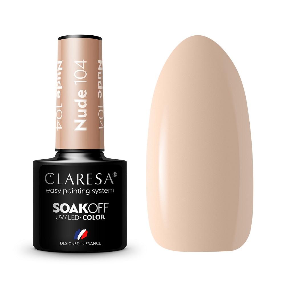 CLARESA_Soak Off UV/LED Nude lakier hybrydowy 104
