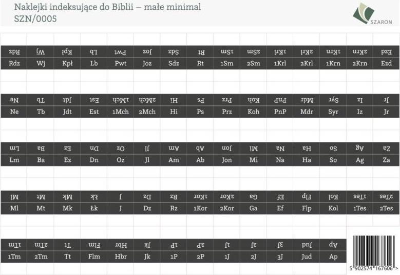 Naklejki indeksujące do Biblii - małe minimal