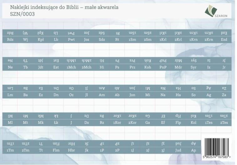 Naklejki indeksujące do Biblii - małe akwarela
