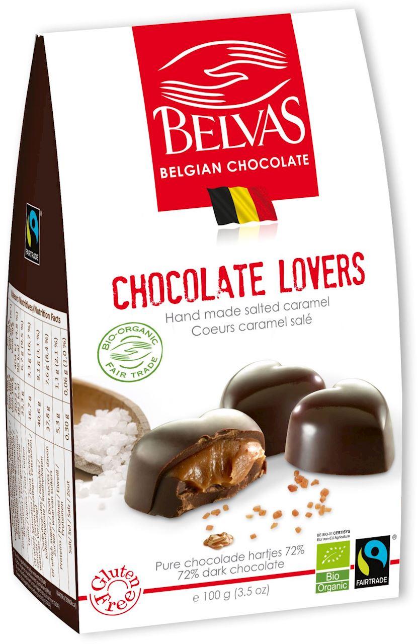 Belgijskie czekoladki serca z karmelem i solą morską fair trade bezglutenowe