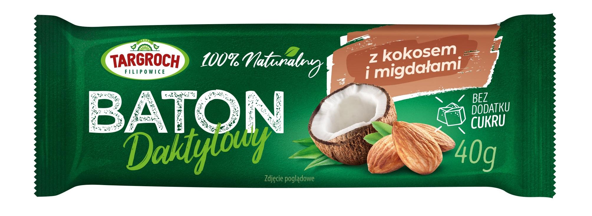 Baton daktylowy z kokosem i migdałami
