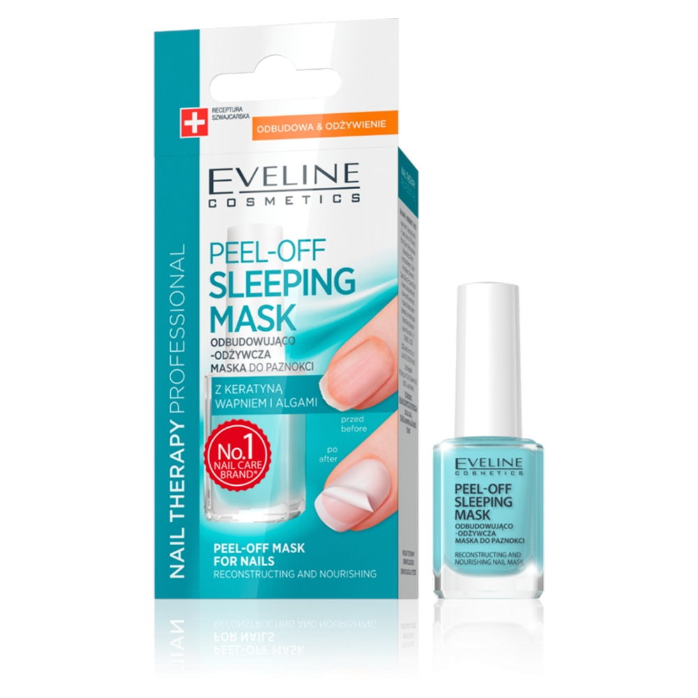 Odbudowująco-odżywcza maska do paznokci z keratyną wapniem i algami Nail Therapy Peel-Off Sleeping Mask