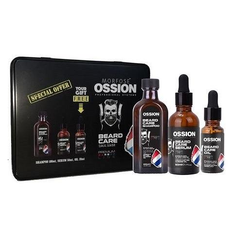 MORFOSE_SET Beard Care Shampoo szampon do brody  + Beard Care Serum serum do brody  + Beard Care Oil olejek do brody  metalowe pudełko