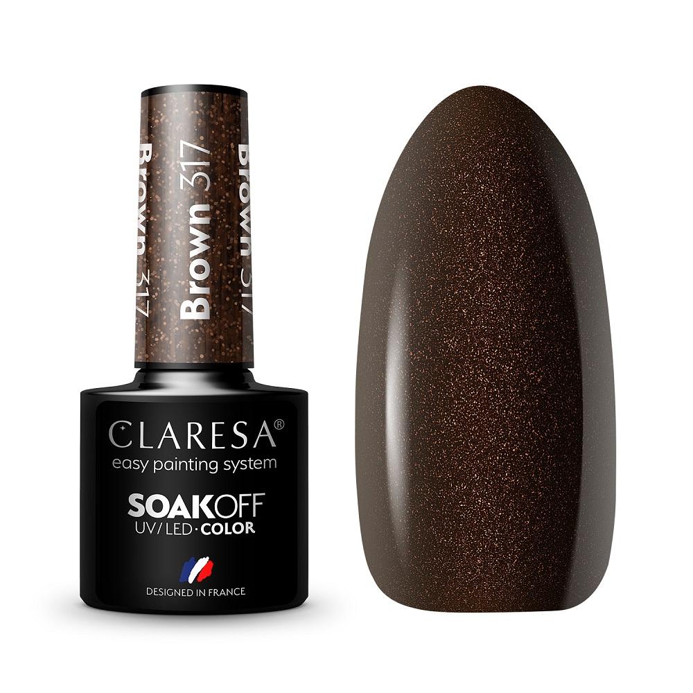 CLARESA_Soak Off UV/LED Brown lakier hybrydowy 317
