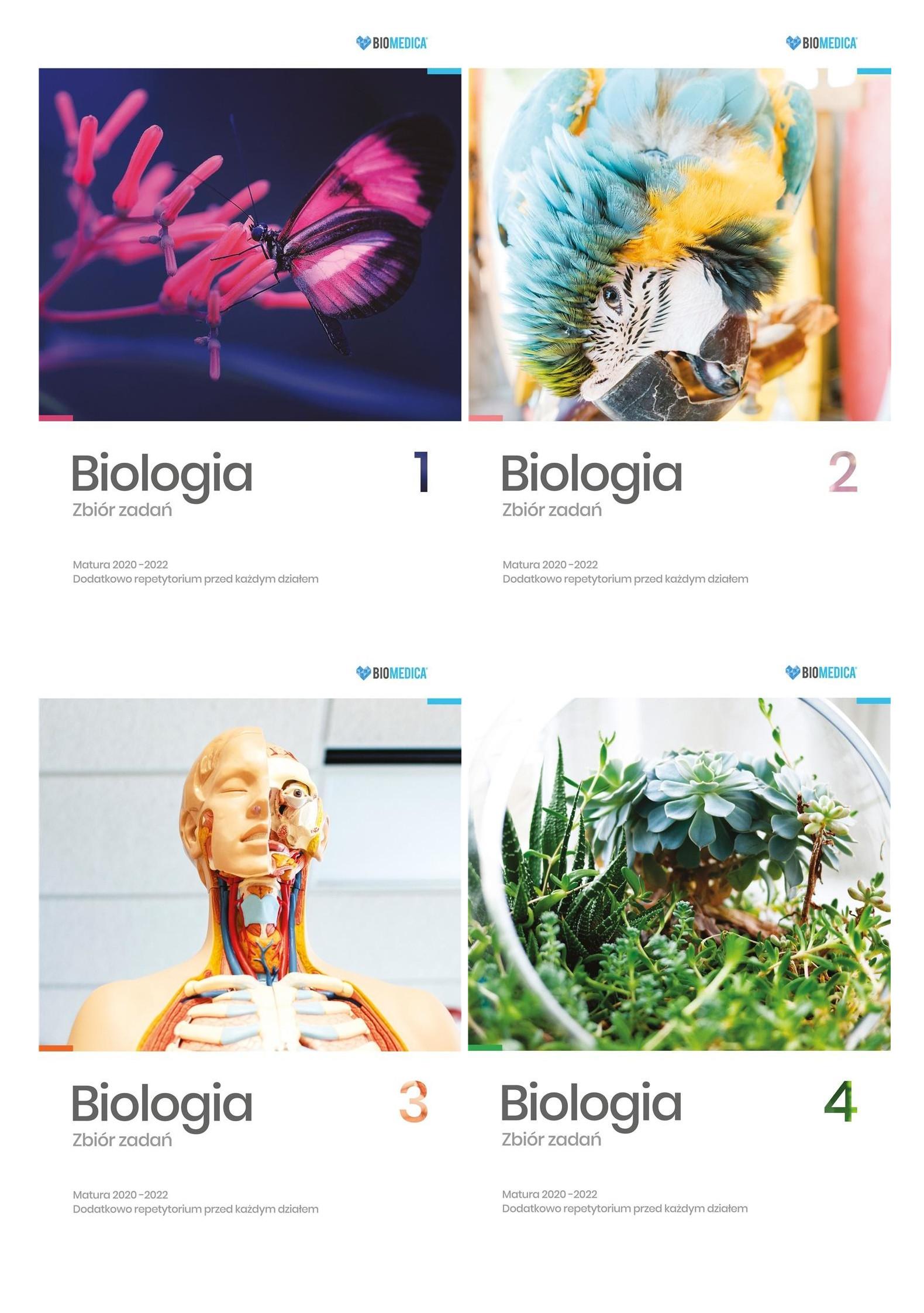 Pakiet: Biologia. Zbiór zadań. Matura 2020-2022. Tom 1 - 4