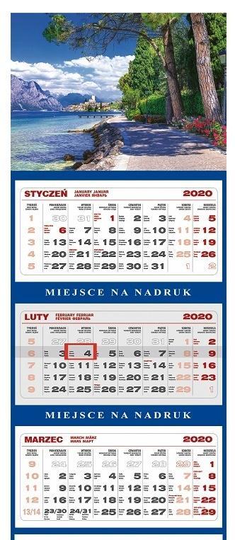 Kalendarz 2021 Ścienny Trójdzielny Jezioro