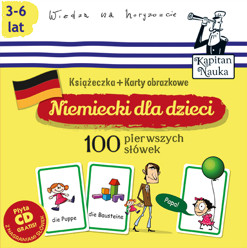 Niemiecki dla dzieci. 100 pierwszych słówek. Książeczka + karty obrazkowe. Kapitan Nauka