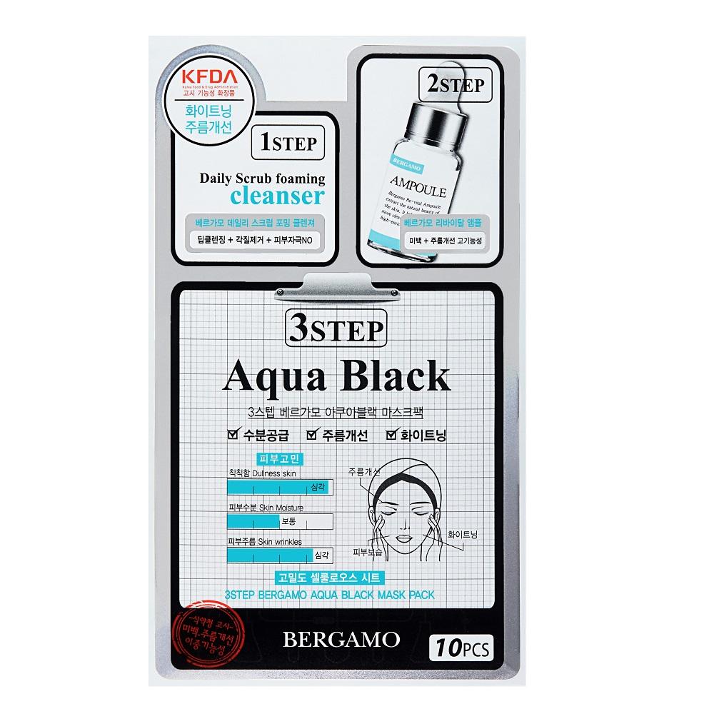 3-Step Aqua Black Mask przeciwzmarszczkowa maska z ekstraktem z oczaru wirginijskiego