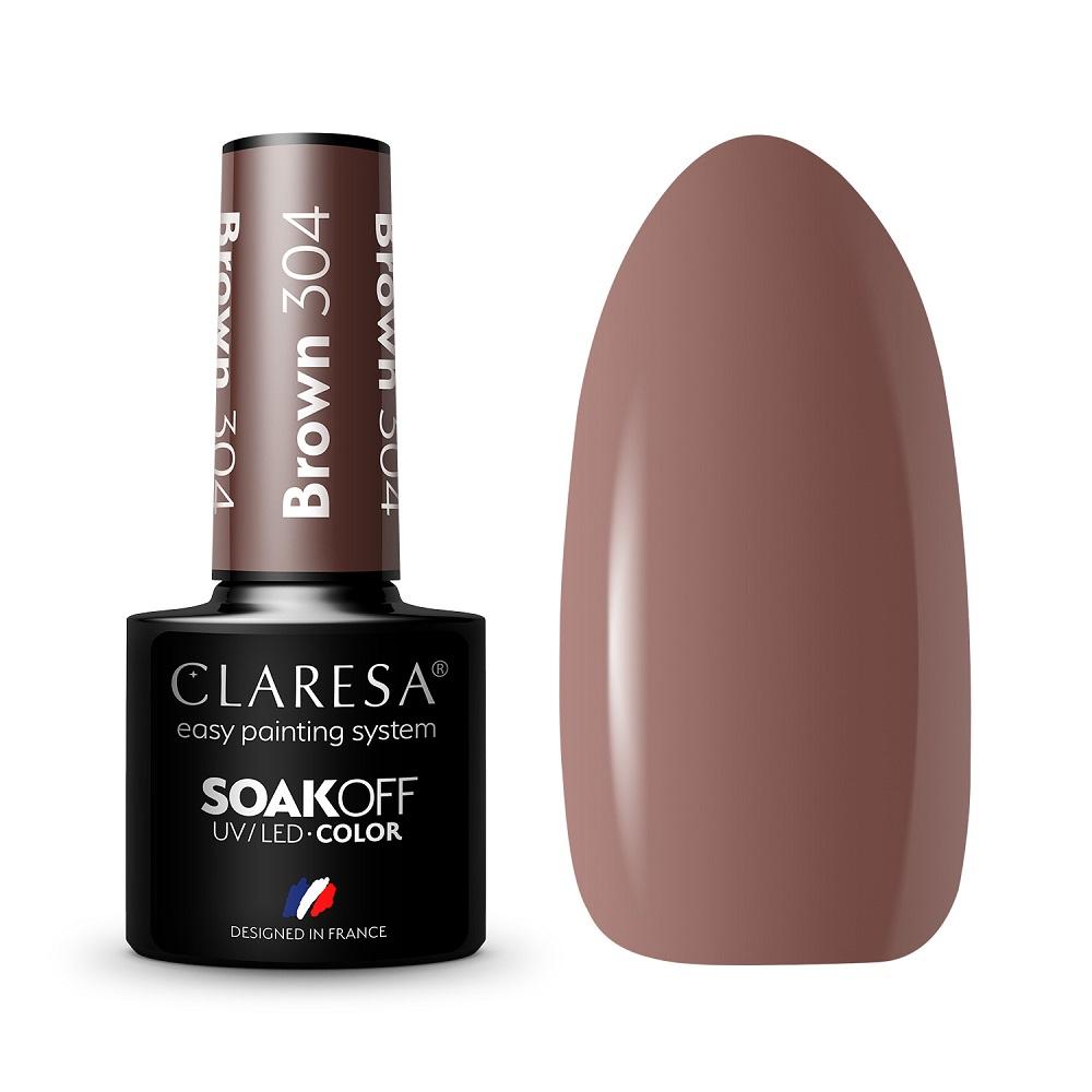 CLARESA_Soak Off UV/LED Brown lakier hybrydowy 304