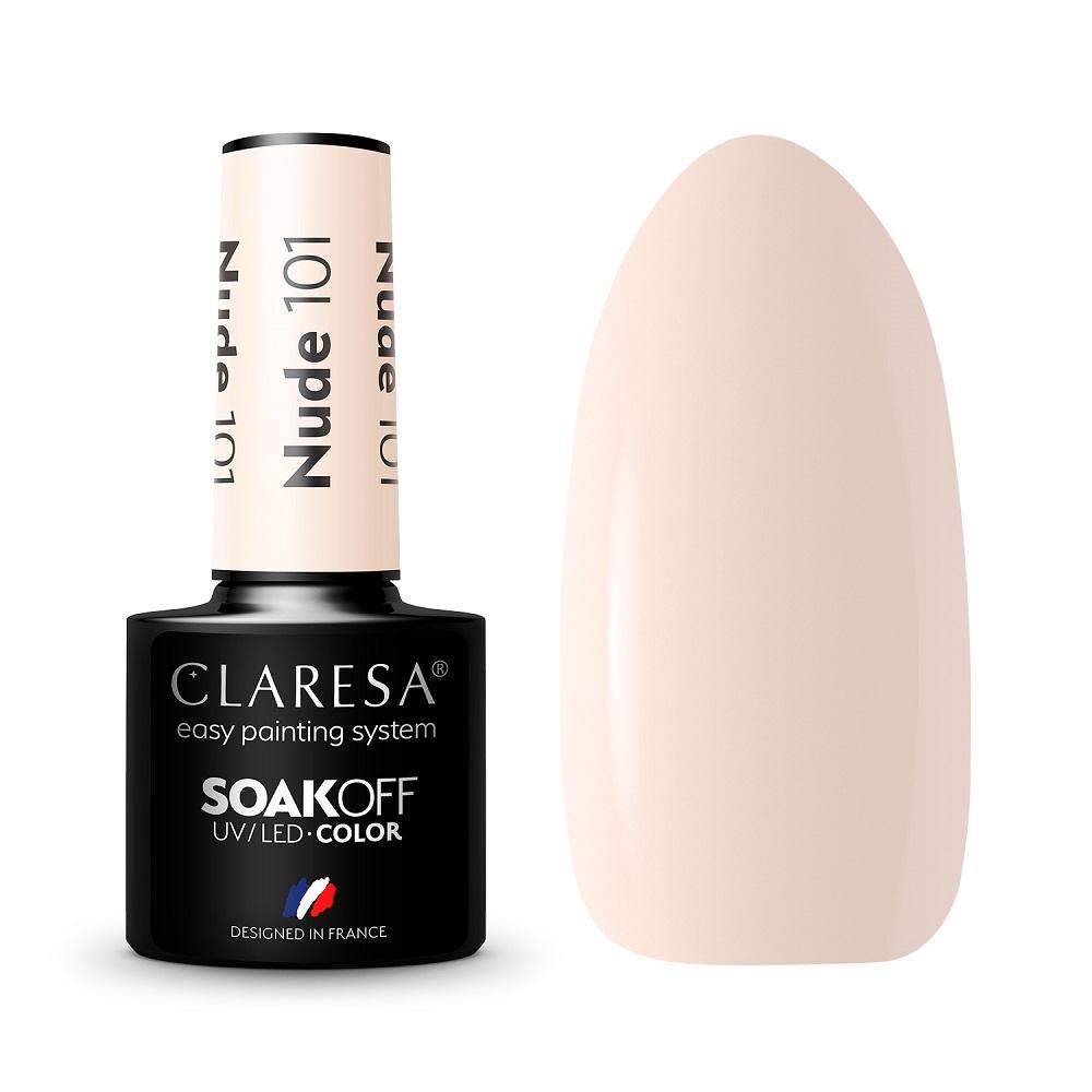 CLARESA_Soak Off UV/LED Nude lakier hybrydowy 101