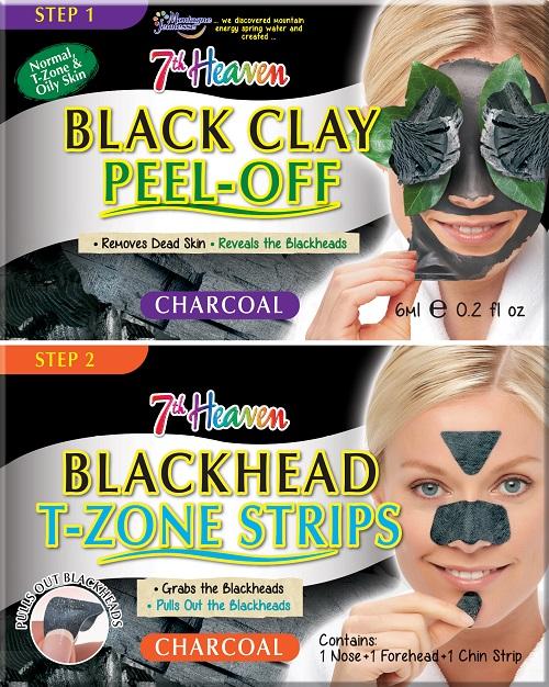Charcoal Duo Black Clay Peel Off węglowa maseczka do twarzy Black Clay 6ml + Blackhead T-Zone Strips paski na nos, brodę i czoło niwelujące zaskórniki