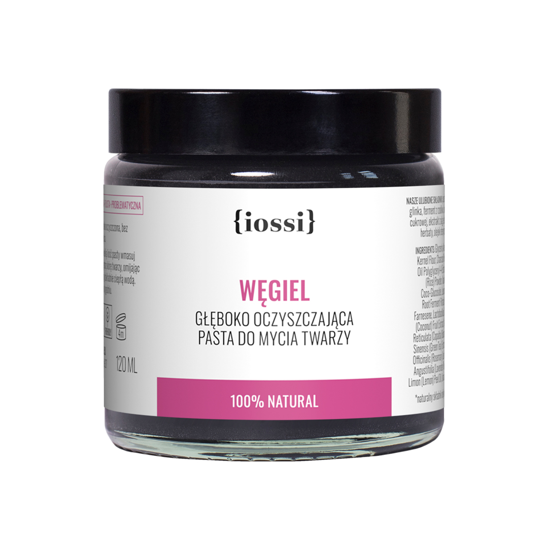 Węgiel pasta oczyszczająca do mycia twarzy z węglem aktywnym, algami i zieloną herbatą