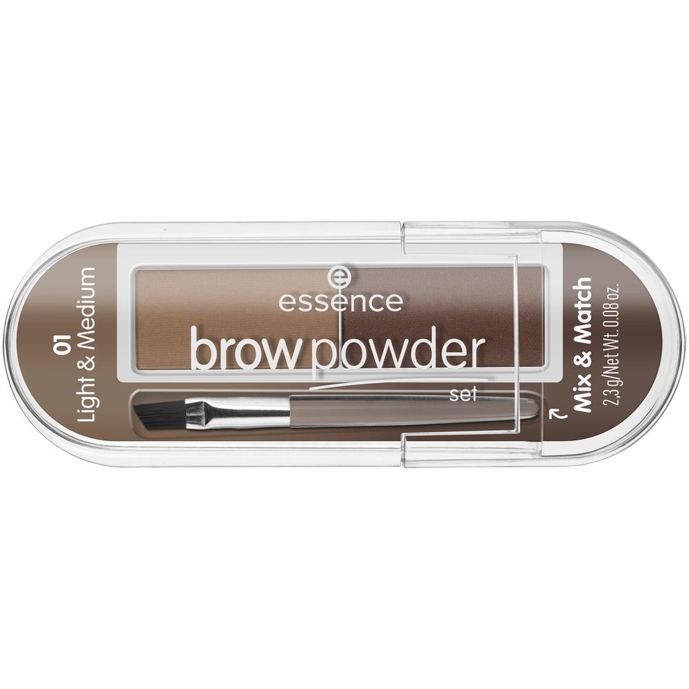 Brow Powder Set zestaw do stylizacji brwi z pędzelkiem 01 Light & Medium