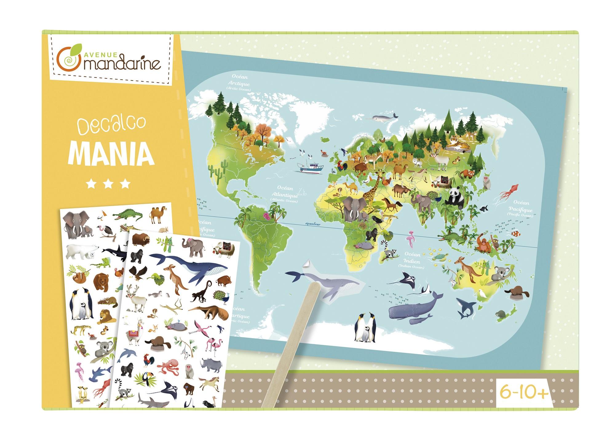 Zestaw Decalco Mania Mapa występowanie zwierząt