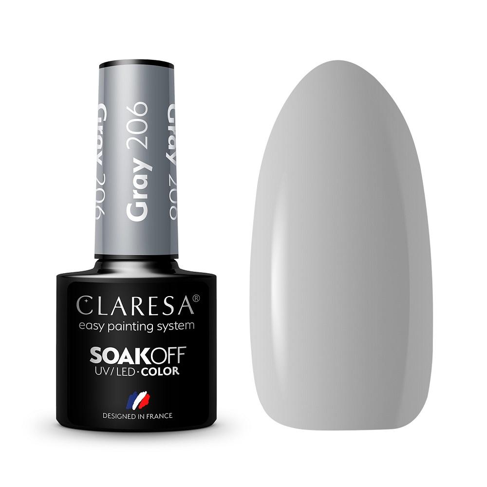 CLARESA_Soak Off UV/LED Gray lakier hybrydowy 206
