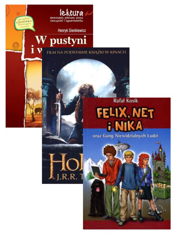 Pakiet: W pustyni i w puszczy, Hobbit, Felix, Net i Nika oraz Gang Niewidzialnych Ludzi. Tom 1