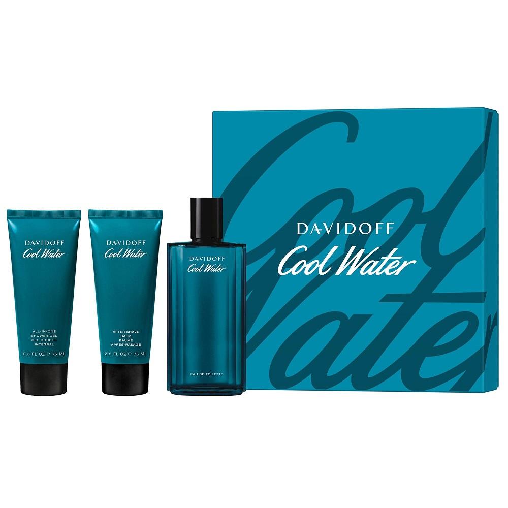 Zestaw Cool Water Men Woda toaletowa spray 125ml + Balsam po goleniu 75ml + Żel pod prysznic 75ml