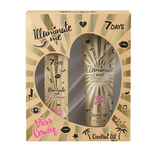 Zestaw dla kobiet Podkład Miss Crazy Illuminate Me 4in1 Luminous Face + Illuminate Me Body Milk