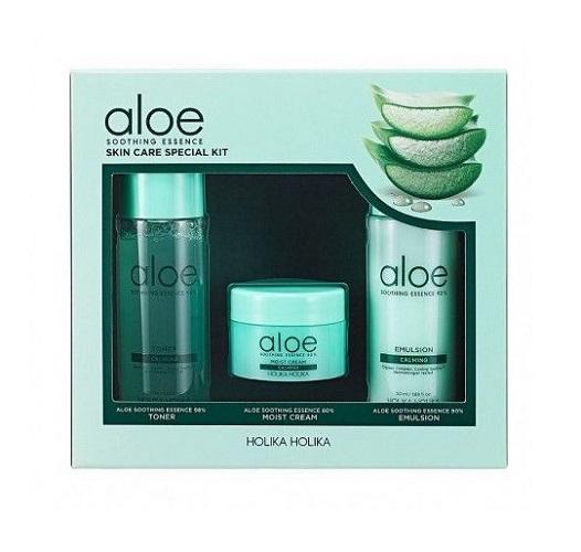 Zestaw kosmetyków Tonik do twarzy Aloe Soothing Essence Skin Care Special Kit + Krem do twarzy + Nawilżająca emulsja do twarzy