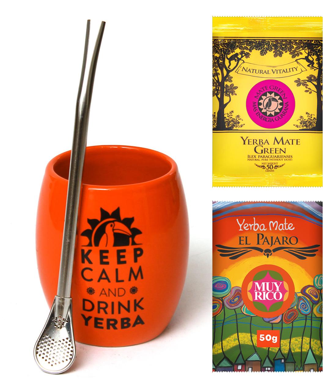 Zestaw Yerba Mate Huevo Orange + Tykwa Bombilla
