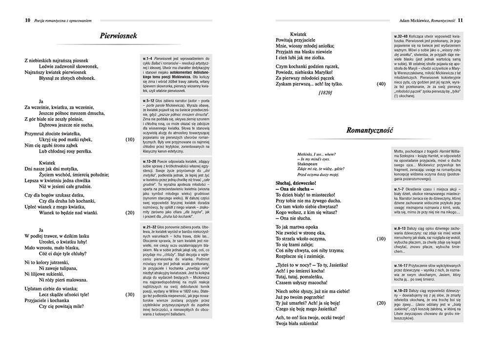 Poezja romantyczna z opracowaniem, czyli co poeta miał na myśli? (Reduta Ordona, Śmierć Pułkownika, Świtezianka i inne wiersze)