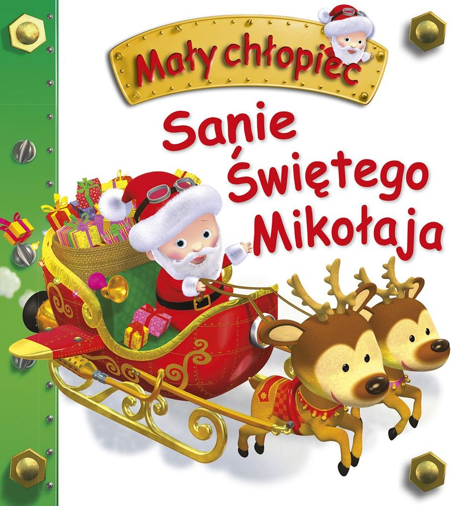 Sanie świętego Mikołaja mały chłopiec