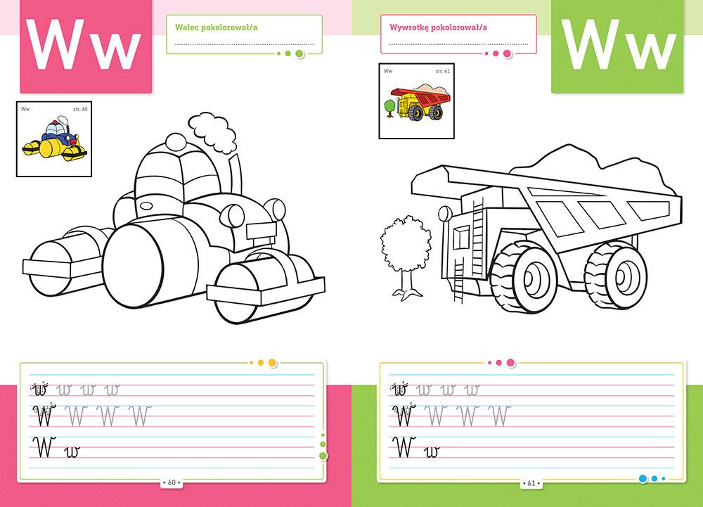 Pisanie literek z pojazdami
