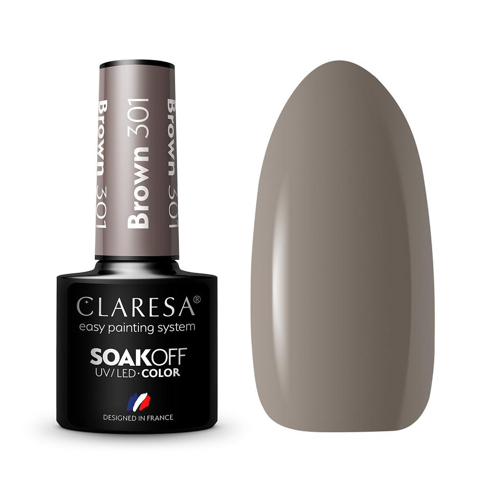 CLARESA_Soak Off UV/LED Brown lakier hybrydowy 301